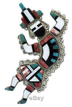Eldred Martinez, Pin, Pendant, Zuni Rainbow Man, Multi Stone, Handmade, 4 in