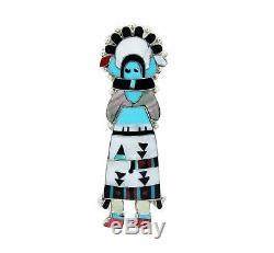 Eldred Martinez, Pin, Pendant, Zuni Shalako, Sterling Silver, Handmade, 4
