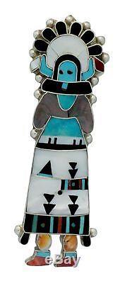 Eldred Martinez, Pin, Zuni Shalako, Multi Stone, Sterling Silver, Handmade, 3.9