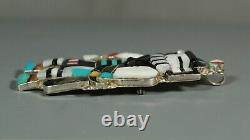 Eldred Martinez Zuni inlay Long Horn Kachina large Pendant Pin brooch