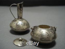 Exceptional Vintage Navajo Sterling Silver Pot Vase Set Old