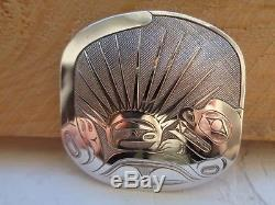 Exquisite Northwest Coast Etched Sterling Pendant/Pin With Otter & Sea Urchin