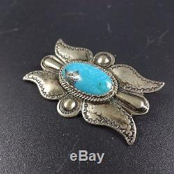 Exquisite Vintage NAVAJO Hand Stamped Sterling Silver & Turquoise PIN/BROOCH