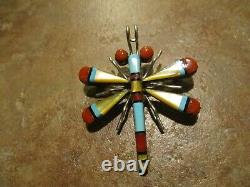 Exquisite Vintage ZUNI Sterling Silver Inlay DRAGON FLY Pin & Pendant