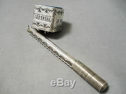 Extremely Rare Vintage Navajo Sterling Silver Turquoise Pool Cue