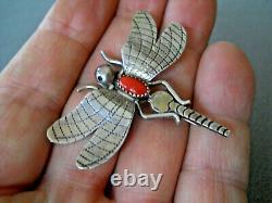 FATOYA YAZZIE Native American Navajo Coral Sterling Silver Dragonfly Pin Brooch