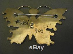 FEDERICO JIMENEZ multi stone sterling silver butterfly pin 3 7/8 x 2 3/8