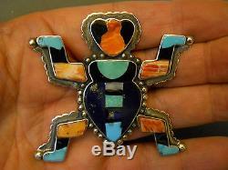 FEDERICO JIMENEZ multi stone sterling silver pin 2 5/8 x 2 3/4