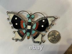 FEDERICO JIMINEZ HUGE sterling silver inlay turquoise BUTTERFLY pin pendant