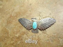 FINE OLD Fred Harvey Era Navajo Sterling Silver Turquoise THUNDERBIRD Pin