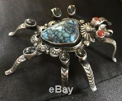 Fabulous Navajo Signed Turquoise And Coral Tarantula Pin/Pendant