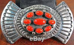 Fb Navajo Sterling Silver Native American Overlay 9 Coral Cluster Pin Brooch