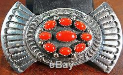 Fb Navajo Sterling Silver Pin Brooch Native American Overlay 9 Coral Cluster