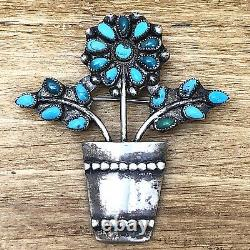 Flower Petit Point Zuni Turquoise Pin Brooch 2in Sterling Silver 925 11g VTG