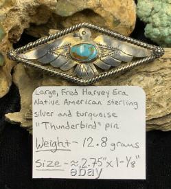 Fred Harvey Era, 1940s Sterling Silver & Gem Turquoise Thunderbird Pin, 12.8g