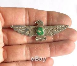 Fred Harvey Era Navajo Sterling Silver Cerrillos Turquoise Thunderbird Pin