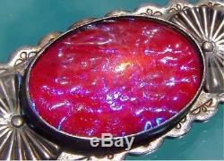 Fred Harvey Era Sterling Silver Big Dragon's Breath Opal Thunderbird Brooch Nice