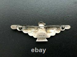 Fred Harvey Era Sterling & Turquoise Thunderbird Pin Brooch Stamped