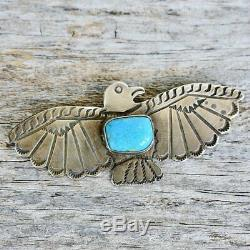 Fred Harvey LARGE Thunderbird Pin Blue Turquoise & Sterling Silver 1940's