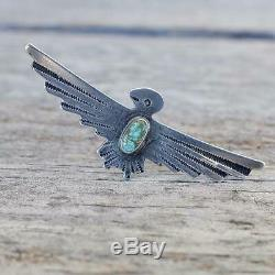 Fred Harvey Thunderbird Pin Green Turquoise Old Pawn Vintage Southwest Silver