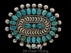 Fred Harvey Vintage Pawn Zuni Turquoise Sterling Cluster Pettipoint Brooch