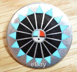 Fred Natachu Zuni Sterling Silver Inlay Sun God Pin Brooch 4309