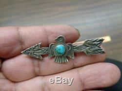 Fred harvey era sterling silver and turquoise thunderbird and arrow pin
