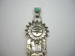 Freddy F. Charley Navajo Sterling Silver 925 Turquoise Kachina Pendant Pin Brooch