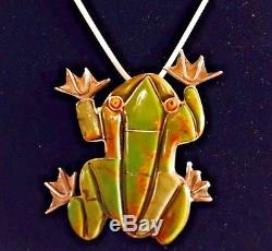 Frog Pendant And Pin Find a frog and kiss it OLD Nevada Carico Lake turquoise
