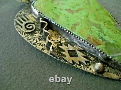 G & J RUSSELS Southwestern Native American Gaspeite Sterling Silver Pendant Pin