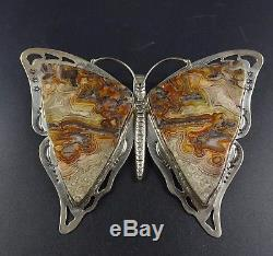 GIANT Signed Vintage NAVAJO Sterling Silver & AGATE BUTTERFLY PIN/PENDANT