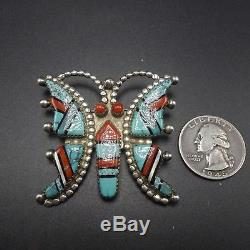 GORGEOUS Vintage ZUNI Sterling Silver CORAL & Turquoise BUTTERFLY PIN/BROOCH