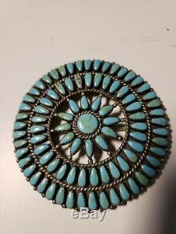 GORGEOUS ZUNI TURQUOISE CLUSTER STERLING SILVER PIN, Circa 1950's