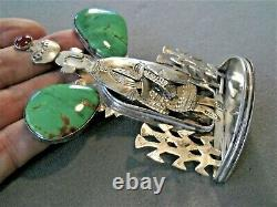 GRADY ALEXANDER Bright Green Turquoise Sterling Silver Navajo Woman Figure Pin