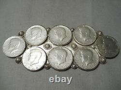 Giant Vintage Navajo Sterling Silver Coin Repoussed Native American Pin