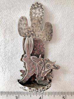 Grady Alexander Navajo Artist Sterling Statue/brooch Cow Rabbit Cactus Unique