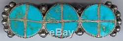 Great Vintage ZUNI Indian Silver Inlaid TURQUOISE CIrcles PIN