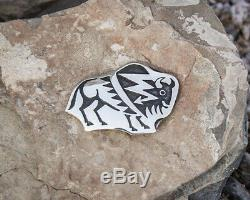 HOPI BUFFALO PIN IN STERLING SILVER by ANDERSON KOINVA-NATIVE AMERICAN