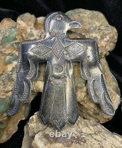 HUGE, 1920s Indian Handcrafts Coin Silver Thunderbird Pin, 23.3g