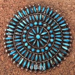 HUGE 3 1/8 Zuni Petit Point Turquoise Valentino Matilda Banteah VMB Pin Pendant