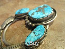 HUGE 3 3/8 Vintage Navajo Sterling Silver PREMIUM Turquoise Leaf PIN & PENDANT