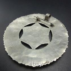 HUGE 3 Vintage NAVAJO Sterling Silver TURQUOISE Cluster MANTA PIN/PENDANT