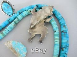HUGE 3 Vintage Zuni Turquoise Inlay Rainbow Man Kachina Dancer Sterling Pin