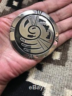 HUGE 3 inch Hopi design sterling silver overlay bird pin / pendant