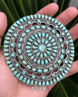 HUGE Navajo Larry Moses Begay Turquoise Cluster Sterling Silver Pin Pendant 70g