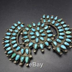 HUGE OLD 1930s Vintage ZUNI Sterling Silver & TURQUOISE Petit Point MANTA PIN