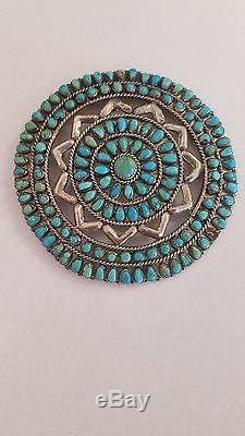 HUGE! OLD Vintage ZUNI Sterling Silver & Turquoise Petit Point PIN/PENDANT