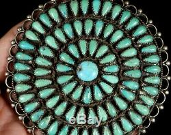 HUGE! Old Pawn Navajo PETIT POINT CLUSTER TURQUOISE Sterling Silver Pin BROOCH