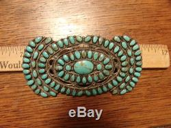 HUGE VINTAGE TURQUOISE SILVER NAVAJO ZUNI INDIAN PIN 4 x 2 signed BECENTI