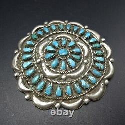 HUGE Vintage NAVAJO Sterling Silver TURQUOISE Petit Point MANTA PIN/PENDANT